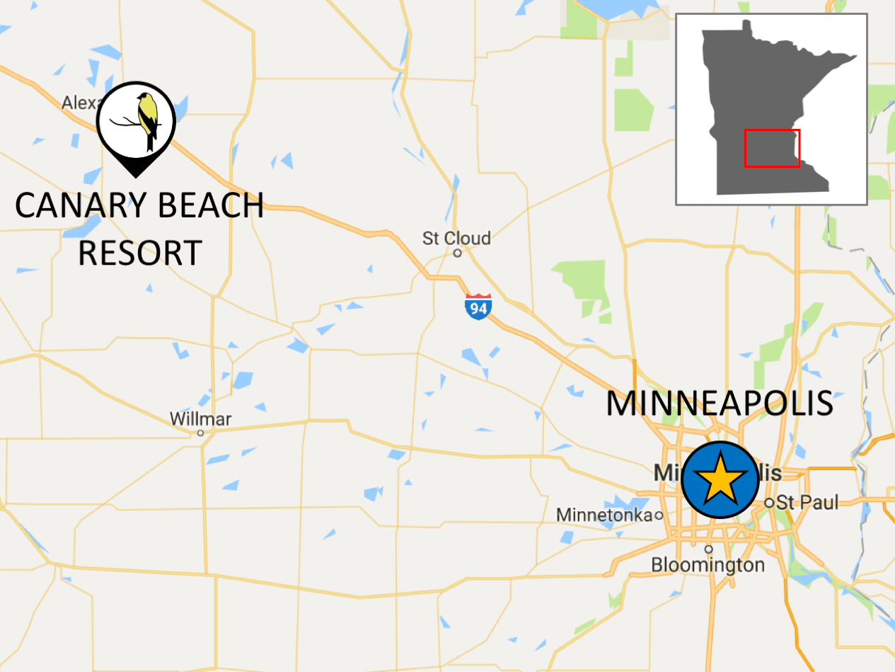 Directions from Minneapolis to Canary Beach Resort