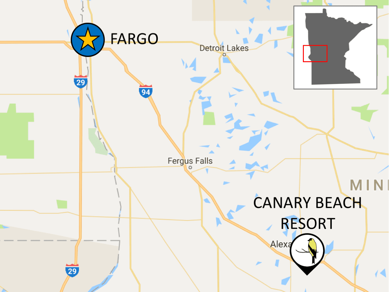 Directions from Fargo to Canary Beach Resort