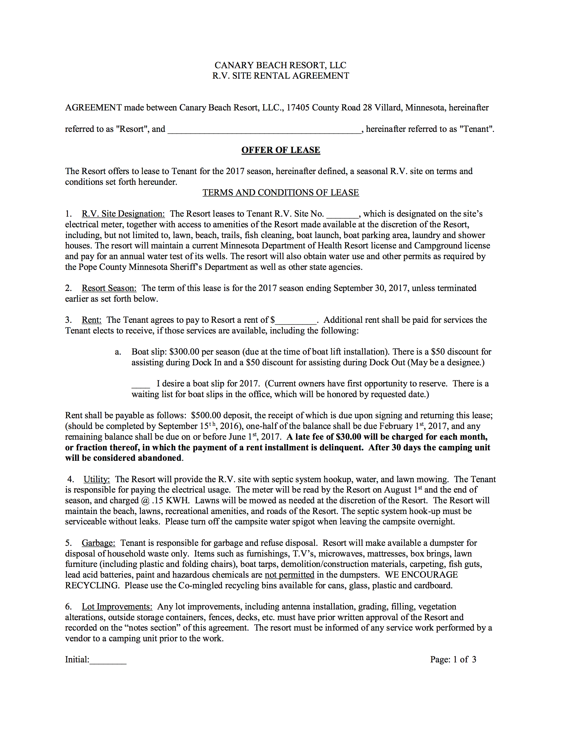 2017 Seasonal Camping Contract